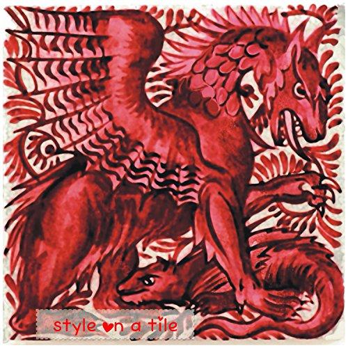 beautiful-art-and-crafts-william-de-morgan-red-gothic-dragon-beast-108mm-425-ceramic-tile-coaster-ma
