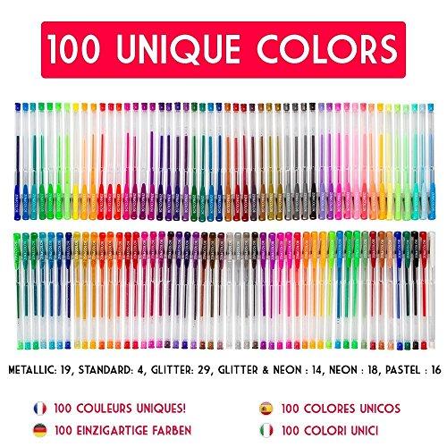 comprare on line 100 Penne Gel Colorate Zenacolor con Astuccio – Set Extra Large – 100 Colori Unici (Zero Doppioni) – Con Inchiostro Fluido della Migliore Qualità – Ottime per la Colorazione di Libri per Adulti (100)