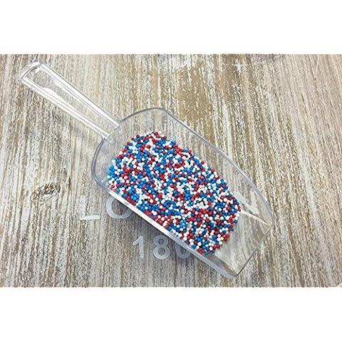Zuccherini 100 g, colore: rosso/bianco/blu (Union Jack), ideali per decorare cupcake, motivo: compleanno della regina