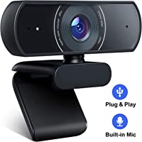 Crosstour Webcam mit Mikrofon, 1080P HD Webcam Streaming Computer Webkamera - USB Plug & Play für PC Laptop Desktop für…
