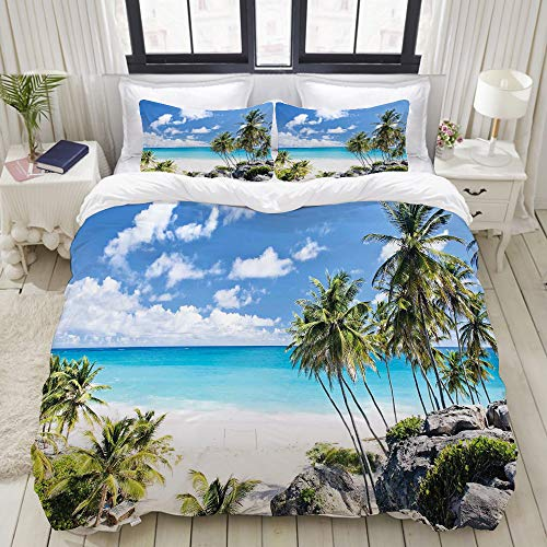 Bay Bettwäsche (SnowXXL Bedding Bettwäsche-Set,Bottom Bay Barbados Beach Tropische Palmen Ozean Urlaub Paradies Küste Charm Theme Picture,Mikrofaser Bettbezug und Kissenbezug - (135 x 200 cm))