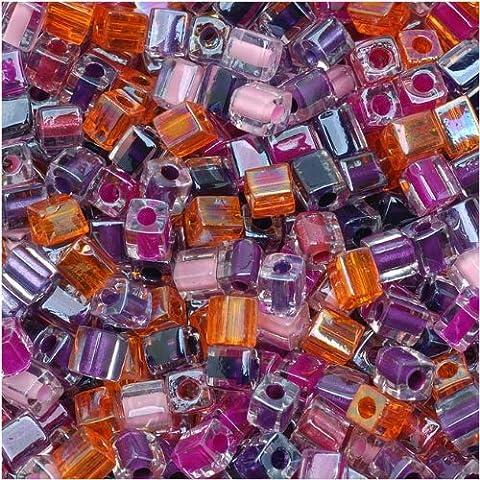 Miyuki 4mm Glass Cube Beads Color Mix Melonberry Purples Pink
