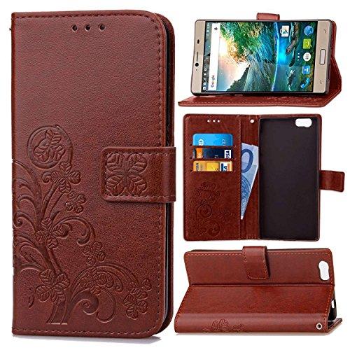 Guran® PU Ledertasche Case für Elephone M2 Smartphone Flip Cover Brieftasche und Stent Funktionen Hülle Glücksklee Muster Design Schutzhülle - Braun