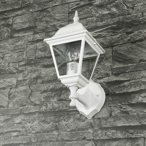 "Aluguss Gartenlaterne matt-weiß grau Wand- Außenleuchte Außenlampe\""Tirol\"" aus Aluspritzguss IP44 Wandlampe für Hof Garten Beleuchtung"