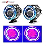 #6: AllExtreme 2 Pieces U11 CREE-LED - Head Hunters LED Projector 3000LMW Headlight Fog Lamp (Dual Ring Red Blue) Fog Light