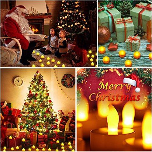 Eyoo LED Luz Vela del Té, 24 Piezas Pequeñas Velas Parpadeantes Brillantes con la Batería para el Partido, Festivales, Bodas, Halloween, Decoración de Navidad (Amarillo Ámbar)