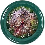 DINOSAUR DINO T-REX JURASSIC BOYS BEDROOM WALL CLOCK #01 (Can be personalised)