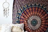 Blau orange Farbe Thema Mandala Königin Wand hängen Tapisserie Wanddekor Hippie Boho Tapisserie von Raajsee 220 * 230 cms