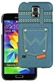 Heartly Jeans Style Printed Design High Quality Hard Bumper Back Case Cover For Samsung Galaxy S5 i9600 - 4 Button Pocket