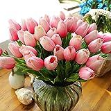 StillCool Blumen Tulpen Künstliche mit Blättern für Hochzeits-Blumenstrauß Deko Blumen Tischdeko Blumendeko Kunstblumen in 7 Farben Blumendekoration (hell rosa, 6)