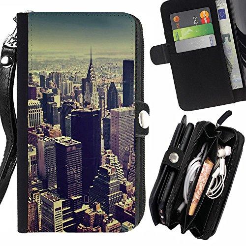 Graphic4You New York City Tilt Shift Postkarte Ansichtskarte Design Zipper Brieftasche mit Strap Hülle Tasche Schale Schutzhülle für Sony Xperia M4 Aqua Aqua-shift