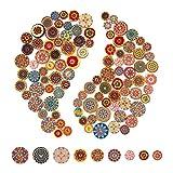 AIEX 100stk Bunte Holzknöpf Kinderknöpfe Blume Malerei Retro Knöpfe, Pattern und Größe für Nähen Basteln DIY (15mm, 20mm, 25mm)