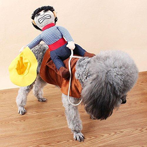 VANKER Fantasía divertido perro de mascota de peluche lindos trajes Novel montar a caballo del vaquero Knight ropa de abrigo--S