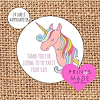 Personalised unicorn party bag stickers thank you for coming 24 labels Unicorn sweet cones labels 1st birthday pink