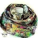 Loop-Schal Damen, multi bunt & crazy, schimmernd & glänzend aus Satin-Stoff