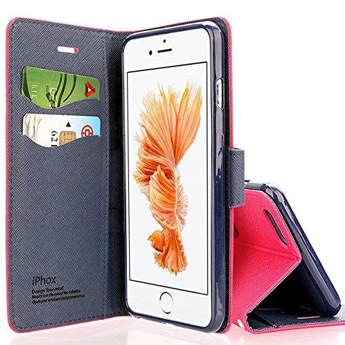 Cover iPhone 6, Cover iPhone 6S, IPHOX Migliori Flip Custodia Caso Libro Pelle PU e TPU Silicone con Funzione Supporto Chiusura Magnetica Portafoglio Libretto Bumper Casein Portafoglio Custodia per Apple iPhone 6 / 6S (4.7'') - Rosso / CP