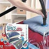 Platzsparende Premium-Vakuumbeutel, Mehrfach-Pack (3x klein, mittel, groß & extragroß), 80% mehr Stauraum als andere Marken. Eine gratis Handpumpe für Reisen - 6
