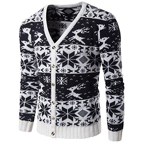 Herren Pullover Cardigan mit Weihnachtlichem Rentier Herbst Winter Knitted Strickjacke Schwarz