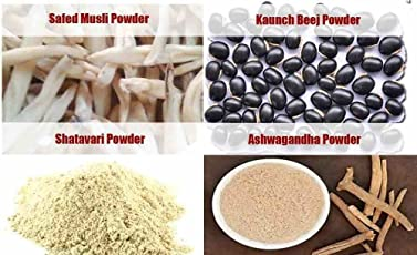 Jadibuti Shatavar, Safed Musli, Kaunch Beej & Ashwagandha Powders (200 GM)Combo
