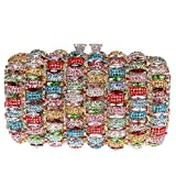 Bonjanvye Kiss Lock Studded Clutch with Crystal Rhinestone Evening Bag Multicolor