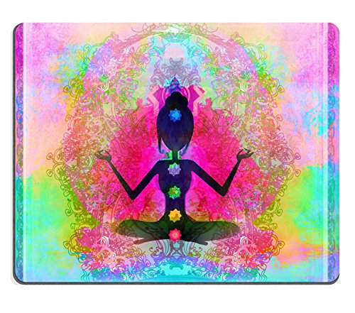 Liili mouse pad in gomma naturale Mousepad yoga Lotus pose Padmasana with Colored chakra points Image ID 17779007