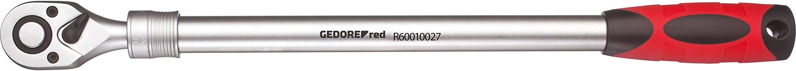 """GEDORE red Teleskopknarre 1/2"""" umschaltbar mit Druckknopfauslösung ausziehbar von 460 auf 600 mm mit 2K-Griff"""