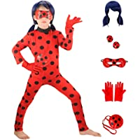 HuangWeida Bambini Costume Parrucca Impostato Ragazze Carnevale Costumi Halloween Festa Coccinella Cosplay Regalo di…
