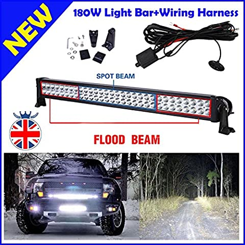LED Light Bar Verkabelung Kit/Set – 180 W 81,3 cm Spot/Flood Combo Driving Lampe – 81,3 cm 6000 K Super Heller weiß Leuchten/Bars/für Autos/SUV/Offroad/Truck