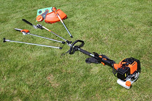 Kiam Sherwood Multi-tool 58cc 2 stroke Petrol 5 in1 Long Reach Hedge Trimmer, Strimmer, Pruner Chainsaw, Brush Cutter & Extension Pole