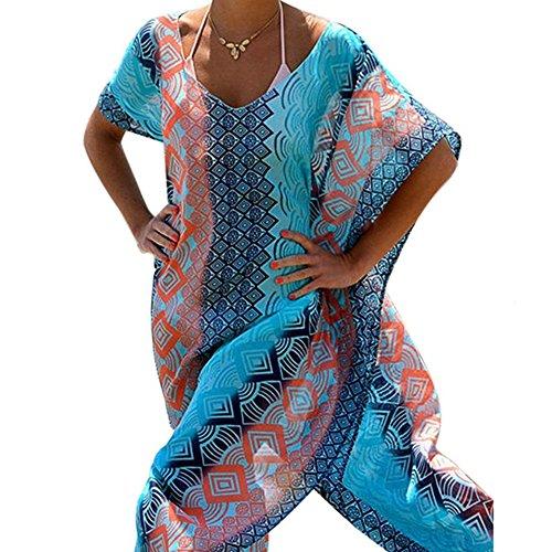Lace Kaftan (Frauen-langes Chiffon- Kaftan-Bikini-Strand-Abdeckungs-gedrucktes Blumenbadebekleidungs-Kleid)