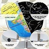 CUTICATE Mappamondo Luminoso 25 cm Giorno Vista Mondo Globo e Notte Vista Illuminata Mappa della Costellazione
