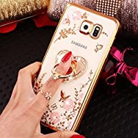 Coque Huawei P9 Plus, Coque Huawei P9 Plus Strass Fleur, SainCat Ultra Slim Transparente Silicone Case pour Huawei P9 Plus, Bling Bling Glitter Strass Diamant Ultra Slim Transparente Antichoc Soft Gel TPU Cover Crystal Clear Coque Caoutchouc Transparent Silicone Case, Coque Souple Housse Silicone Ultra Mince Shockproof Shell Ultra Thin Bumper Case Skin Étui Coque Anti Choc Housse Bumper Cover pour Huawei P9 Plus-Or
