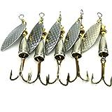 LENPABY 5PCS Jigs Fishing Lures Casting Fishing Lures Blade Baits,8.1cm Fishing Spoons Lure 10g Casting Metal Fishing Spoons