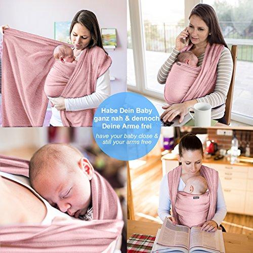 Babytragetuch aus 100% Baumwolle - Rosa – hochwertiges Baby-Tragetuch für Neugeborene und Babys bis 15 kg – inkl. Aufbewahrungsbeutel und GRATIS Baby-Lätzchen – liebevolles Design von Makimaja® - 3