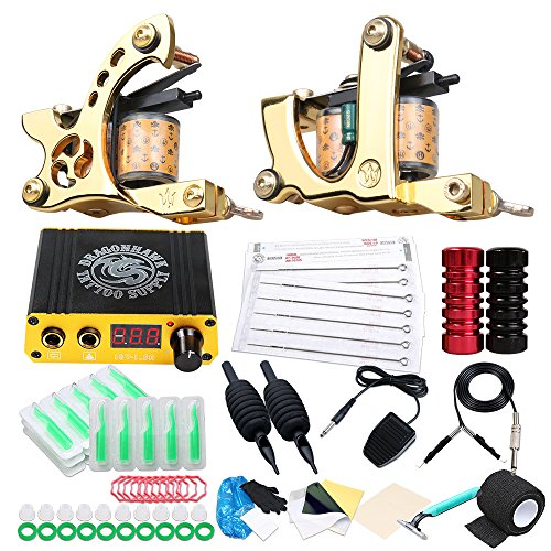 Dragonhawk 2 Coil Machines Guns Tattoo Kit Power Supply Grip Sterilize Needles for Tattoo Artist XQT-2