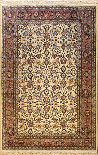 185 x 277 Alfombra Persa de Pak con Tejido Grueso Lana - Diseño Baghban | Alfombra Tejida a Mano, en Colores Blanco, Marrón Rojizo, Azul Verdoso | Alfombra Rectangular 183 x 274