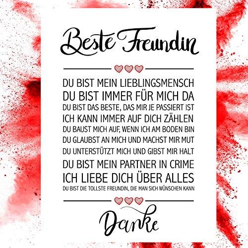 Close Up Beste Freundin Danke Zitate Poster - Deko Geschenk zum Geburtstag, Weihnachten, jeden Tag - 30 x 40 cm, Premium Qualität