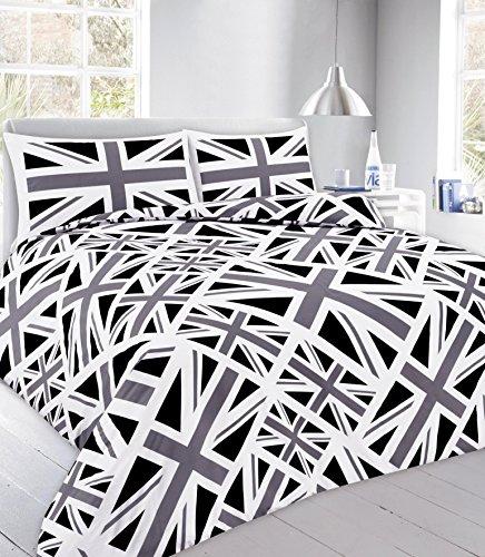Bettwäsche-Set mit Bettdeckenbezug und Kopfkissenbezügen, Polycotton, 11. Stich, Union Jack Black, Einzelbett -
