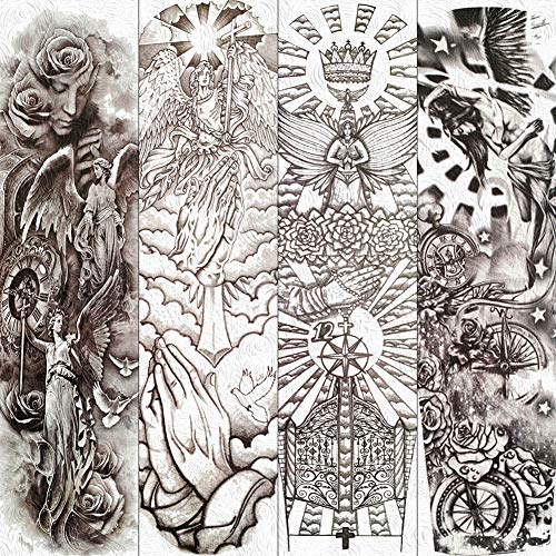 lijinjin Temporäre Tattoo-Aufkleber Göttin Der Weisheit Athena Temporäre Tattoos Voller Arm Schwarz Sonnengott Tattoo Aufkleber Lange Blumen Wassertransfer Gefälschte 48X17Cm 4Pc (Athena Göttin Party)