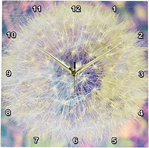 3dRose dpp_33727_2 Making a Wish Vision-Pastel Dandelion-Flowers-Wall Clock, 13 by 13-Inch