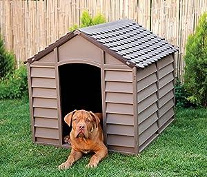 Starplast Niche extérieur jardin en plastique pour chien Pet Abri d'hiver House Durable Grand sans rouille 50–701Chocolat et moka