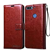 Bracevor Huawei Honor 7C Flip Cover Case | Premium Leather | Inner TPU | Foldable Stand | Wallet Card Slots - Executive Brown