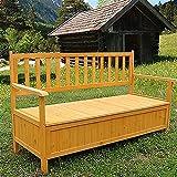 Melko® Gartenbank Sitzbank Parkbank, inklusive großem Staufach, aus Holz, 145 x 61 x 85 cm, Auflagenbox Holztruhe Truhenbank