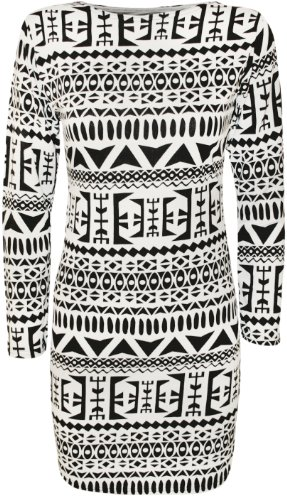 WearAll - Damen Tribal Druck Figurbetonte Langarm Kleid - Größe 36-42 Schwarz