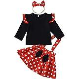 FYMNSI Bebé Niña Vestido de Lunares Primera Fiesta de Cumpleaños Ropa Camisa + Falda de Tirantes + Diadema de Bowknot Set 3pc