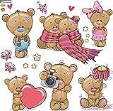 Wandtattoo Teddybären Kinderzimmer Aufkleber Set auf 60x60cm Bogen
