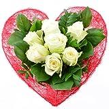 Blumenversand - Blumenstrauß zum Geburtstag - Liebe in rot-weiß - mit 7 weißen Rosen - mit Gratis Grußkarte - deutschlandweit versenden