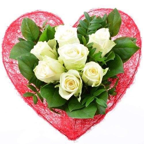 floristikvergleich.de Blumenversand – Blumenstrauß zum Geburtstag – Liebe in rot-weiß – mit 7 weißen Rosen – mit Gratis – Grußkarte versenden