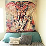 Amkun Indian Mandala Hippie Bohemian Tapestries,Tapestry Wall Hanging , Wall Tapestry with Art Nature Home Decorations for Table Cloth ,Living Room, Bedroom Dorm Decor Beach towel Yoga mat (Orange)