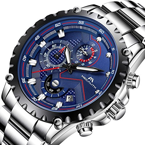 Mens-Silver-Stainless-Steel-Watches-Men-Chronograph-Sports-30M-Waterproof-Luxury-Unique-Design-Calendar-Date-Wrist-Watch-Gents-Military-Business-Casual-Heavy-Analogue-Quartz-Watch-with-Blue-Dial